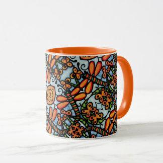 Whimsical Dragonflies Blue Orange Pattern Mug
