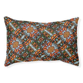 Whimsical Dragonflies Blue Orange Pattern Pet Bed