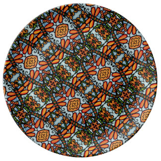 Whimsical Dragonflies Blue Orange Pattern Plate