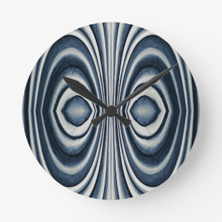 Whimsical Earth Toned Blue Abstract Pattern Wallclock