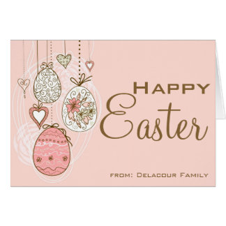 Whimsical Easter Eggs Pink Happy Easter Card