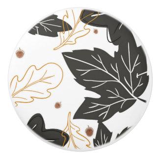 Whimsical Elegant Autumn Fall Leaves Acorns Ceramic Knob