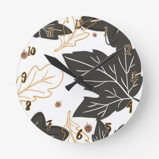 Whimsical Elegant Autumn Fall Leaves Acorns Custom Round Clock