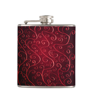 Whimsical Elegant Textured Red Swirl Pattern Hip Flask