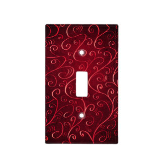 Whimsical Elegant Textured Red Swirl Pattern Light Switch Cover