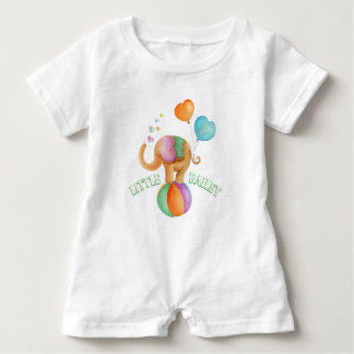 Whimsical elephant circus watercolor name baby romper