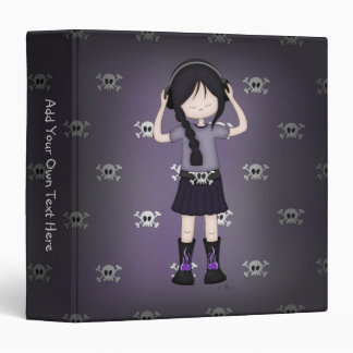Whimsical Emo Goth Girl with Music Headphones 3 Ring Binders