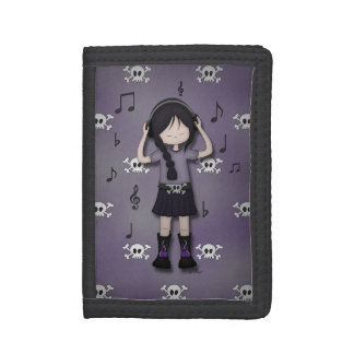 Whimsical Emo Goth Girl with Music Headphones Tri-fold Wallets