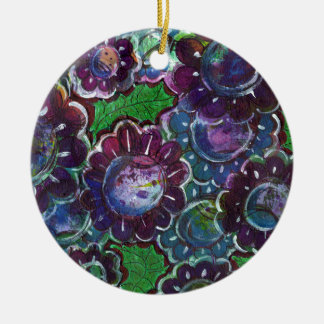 Whimsical Faerie Garden Round Ceramic Ornament