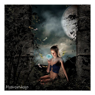 Whimsical Fairy Holding Magical Ball in Forest Art Poster