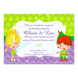 Whimsical Fairy Party invitation for twins