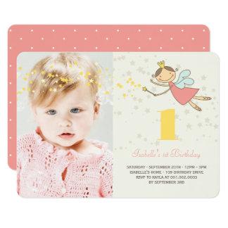 """Whimsical Fairy Princess Girl 1st Birthday Photo 4.5"""" X 6.25"""" Invitation Card"""