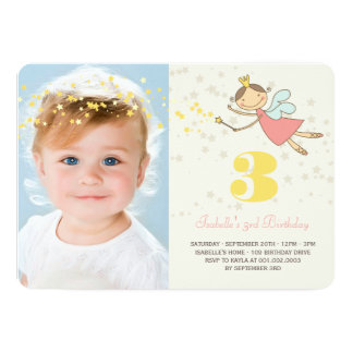 "Whimsical Fairy Princess Girl Birthday Party Photo 5"" X 7"" Invitation Card"