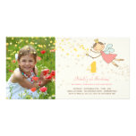 Whimsical Fairy Princess Girl Kids Birthday Party Custom Photo Card