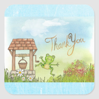 Whimsical Fairytale Frog and Well Thank you notes Square Sticker