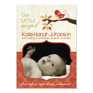 Whimsical Fall Birth Announcement Photo card