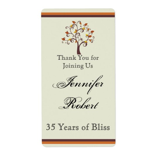 Whimsical Fall Tree Anniversary Wine Label