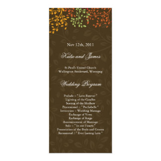 "Whimsical Fall Wedding Program 4"" X 9.25"" Invitation Card"