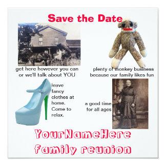 "Whimsical Family Reunion 5.25"" Square Invitation Card"