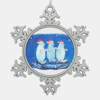 Whimsical Fancy Beluga Whales Trio Christmas Tree Snowflake Pewter Christmas Ornament