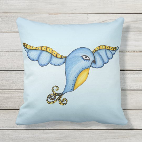 Whimsical Fancy Fantasy Blue Bird Yellow Accents Outdoor Pillow