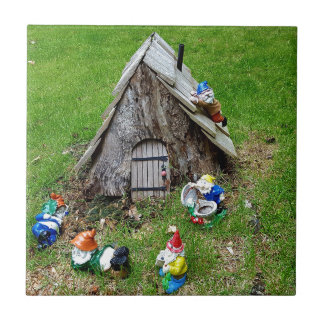 Whimsical Fantasy Outdoor Gnomes With House Ceramic Tiles