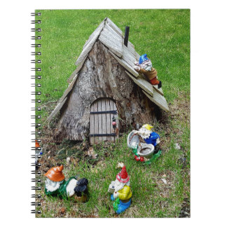Whimsical Fantasy Outdoor Gnomes With House Note Book