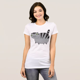 Whimsical Fat Grey Tabby Cat Tee