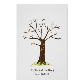 Whimsical Fingerprint Tree with Lovebirds Poster