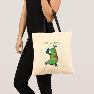 Whimsical Fish Art Lime Green Tote Bag