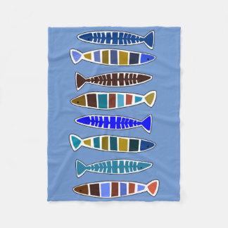 Whimsical Fish Coastal Nautical Beach House Throw Fleece Blanket