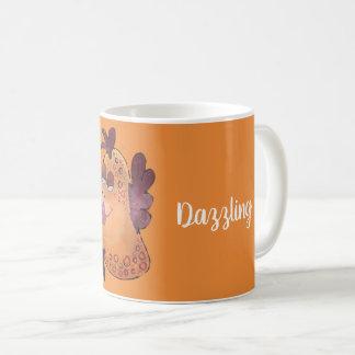 Whimsical Flirty Fish Art in Orange and Red Coffee Mug