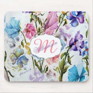 WHIMSICAL FLORAL AND BUTTERFLIES MOUSE PAD