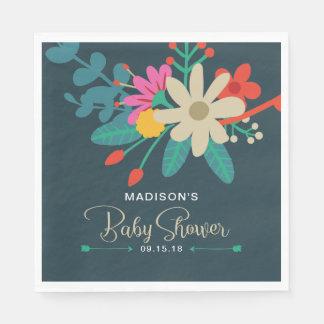 Whimsical Floral Baby Shower Napkins Paper Napkins