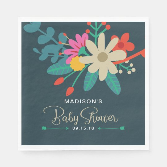 Whimsical Floral Baby Shower Napkins Paper Napkins
