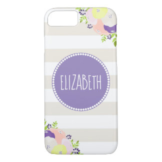 Whimsical Floral Beige Stripe Purple Monogram Name iPhone 8/7 Case