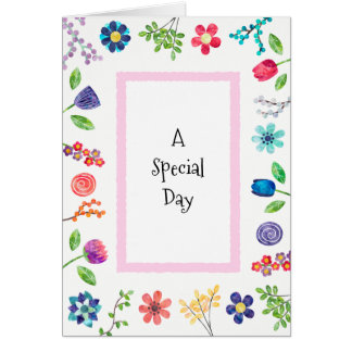 Whimsical Floral Berries and Fun Birthday Greeting Card