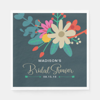 Whimsical Floral Bridal Shower Napkins Disposable Napkin