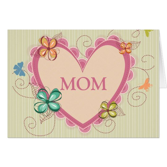 Whimsical floral heart mom mother's day card