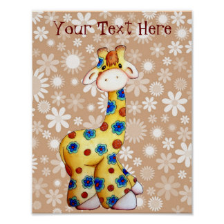 Whimsical Floral Hippie Giraffe Nursery Art Poster