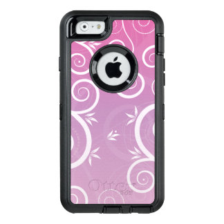 Whimsical Floral Modern Pattern Pink OtterBox Defender iPhone Case