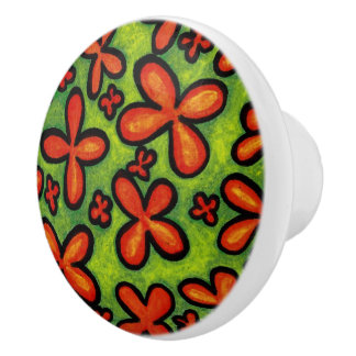 Whimsical Floral Orange And Green Ceramic Knob