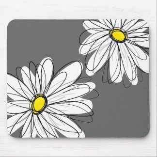 Whimsical Floral Pattern in yellow gray Mouse Pad