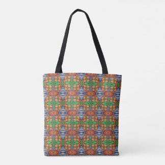 Whimsical Floral Pattern Orange Green Blue Tote Bag