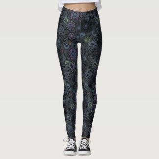 Whimsical Floral Patterned Leggings Grey Tones