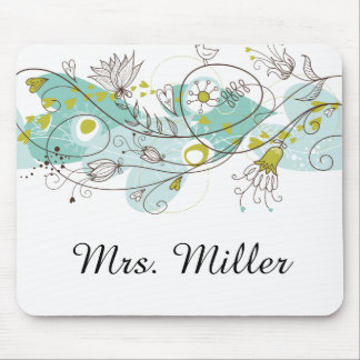 Whimsical Floral Swirls and Birds Mouse Pad