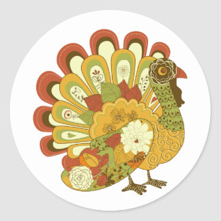 Whimsical Floral Turkey Thankgiving Sticker