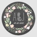 Whimsical Floral Wreath Chalkboard Monogram