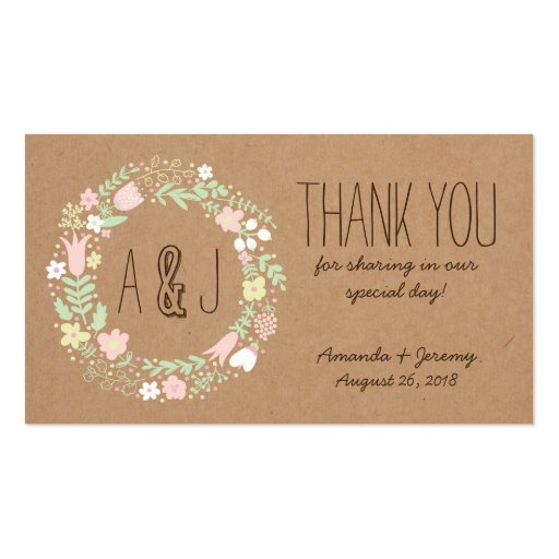 Whimsical Floral Wreath Craft Paper Favor Tags Business Card