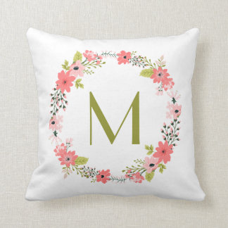 Whimsical Floral Wreath Monogram Throw Pillow